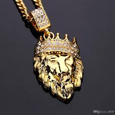 jewelry gold diamond necklace images 2017 fashion new 18k gold diamond crown lion head boutique pendant jpg
