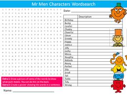 3 men u0026 characters wordsearch cartoons feelings