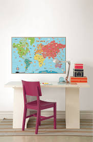 World Map Decal by Kids World Dry Erase Map Art Sticker With Pen