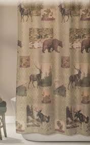 design home mountain lodge woodland fabric shower curtain bear