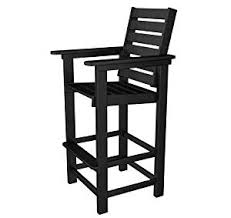 Adirondack Bar Stools Amazon Com Polywood Ccb30bl Captain Bar Chair Black Patio Lawn