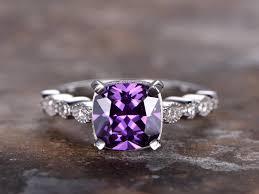 amethyst engagement rings 6 5mmm cushion cut amethyst engagement ring 925 sterling silver