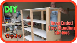 Free Standing Wood Shelves Plans by Open Free Standing Shelves Diy Youtube