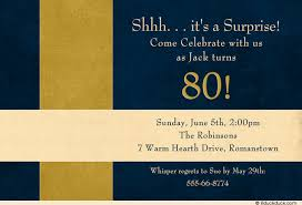 80th birthday invitation surprise card blue u0026 gold