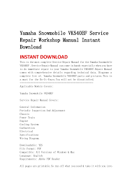 yamaha snowmobile vk540 ef service repair workshop manual instant dow u2026