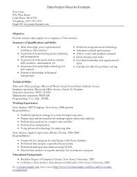 Resume Examples Qualifications by Interesting Data Analyst Resume Example For Employment Featuring