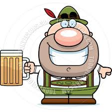 beer cartoon cartoon lederhosen man drinking beer by cory thoman toon vectors