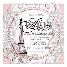 personalized paris sweet 16 party invitations
