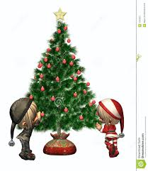 elves decorate the tree stock illustration image
