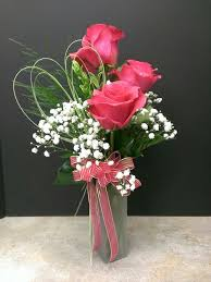 three vase roses and baby s breath always in style
