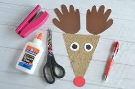 burlap reindeer kid craft glued to my crafts