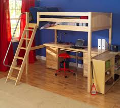 Kids Room  Comfortable White Painted Wood Loft Bed With Desk - Kids bunk bed desk