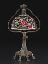 studios new york azalea leaded glass and patinated bronze table lamp