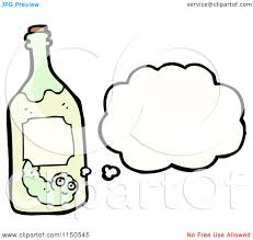 cartoon tequila cartoon of a thinking worm in a tequila bottle royalty free