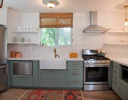 kitchen blue painted island hardwood floor trend kitchen design