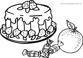 coloring pages of food strawberry cake color page