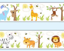 SAFARI NURSERY DECOR Wallpaper Border Decals Girl Jungle - Wall borders for kids rooms