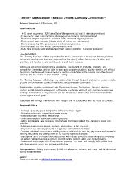 Medical Device Resume Territory Sales Manager Medical Devices