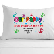 personalized fathers day gifts personalised best handprint pillowcase papa unique
