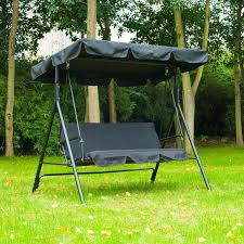 Swinging Patio Chair Amazon Com Outsunny 3 Person Canopy Porch Swing Black Patio