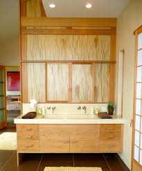 double trough sink bathroom contemporary with bamboo cabinetry