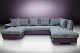 Purple Sofa Bed Left Facing Corner Sofa Bed Cord Fabric Grey Purple Twill