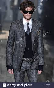 dark hair with grey models milan gucci menswear ready to wear checked suit model dark hair