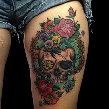 skull and flower thigh tattoo golfian com