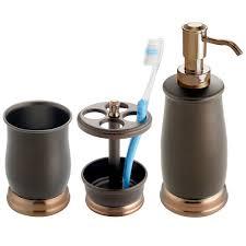 Bathroom Accessories Bronze by Amazon Com Mdesign Metal Bath Accessory Set Soap Dispenser