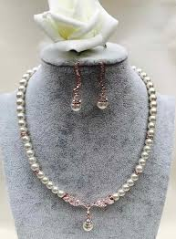 gold pearl necklace set images Rose gold pearl necklace set starbox jewellery weddings jpg