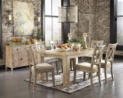 ashley dining room furniture set signature design by ashley mestler driftwood finish rectangular