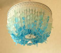 sea glass chandelier lighting fixture flush mount coastal