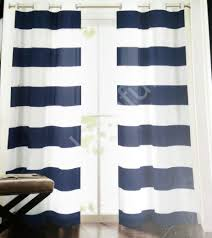 Navy Blue And White Striped Curtains by New Hillcrest Navy Blue White Striped Window Curtain Panels 52x96