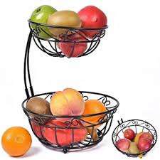 fruit basket stand newdora 2 tier scroll fruit basket stand tiered