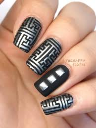 silver and black beautiful matte nail art design