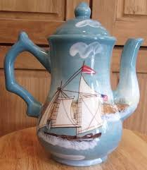 lighthouse ceramic pitcher tea coffee pot 8 inches tall nautical