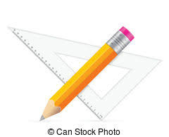 vector clipart of pencil pen triangle and ruler sketch icons