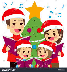 At Home Christmas Trees by Happy Family Singing Carols Front Christmas Stock Vector 323732177