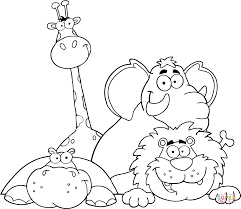 hippo giraffe elephant and lion coloring page free printable