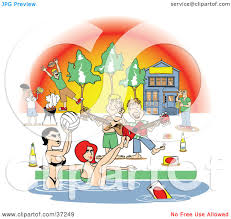 clipart illustration of a frat house pool party with women and clipart illustration of a frat house pool party with women and liquor by andy nortnik