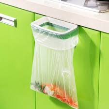 cupboard door back trash rack storage garbage bag holder hanging