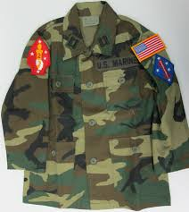 woodland camo jacket with marine patches sewn on kids