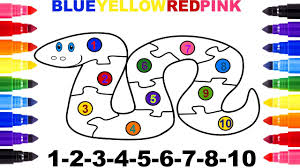 snake coloring page learn numbers 1 to 10 puzzle youtube