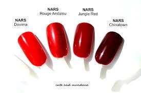 cute and mundane my nars red nail polish collection review