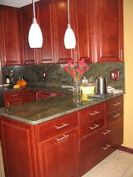 Pictures Of Kitchens With Cherry Cabinets Granite Color For Cherry Cabinets