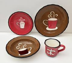 Marcel Home Decor Tuscany Fleur De Lis Coffee Design 16pc Dinnerware Set Marcel