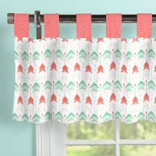coral and teal arrow window valance tab top carousel designs