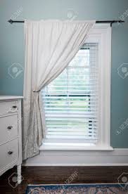 Boat Window Blinds Window With Venetian Blinds And White Curtain In Country Style