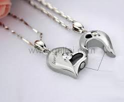 engraved necklaces for personalized connecting half hearts necklaces for boyfriend and
