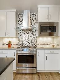 Black Granite Glass Tile Mixed Backsplash by Modern Cobble Stainless Steel With White Glass Tile Emt W1144